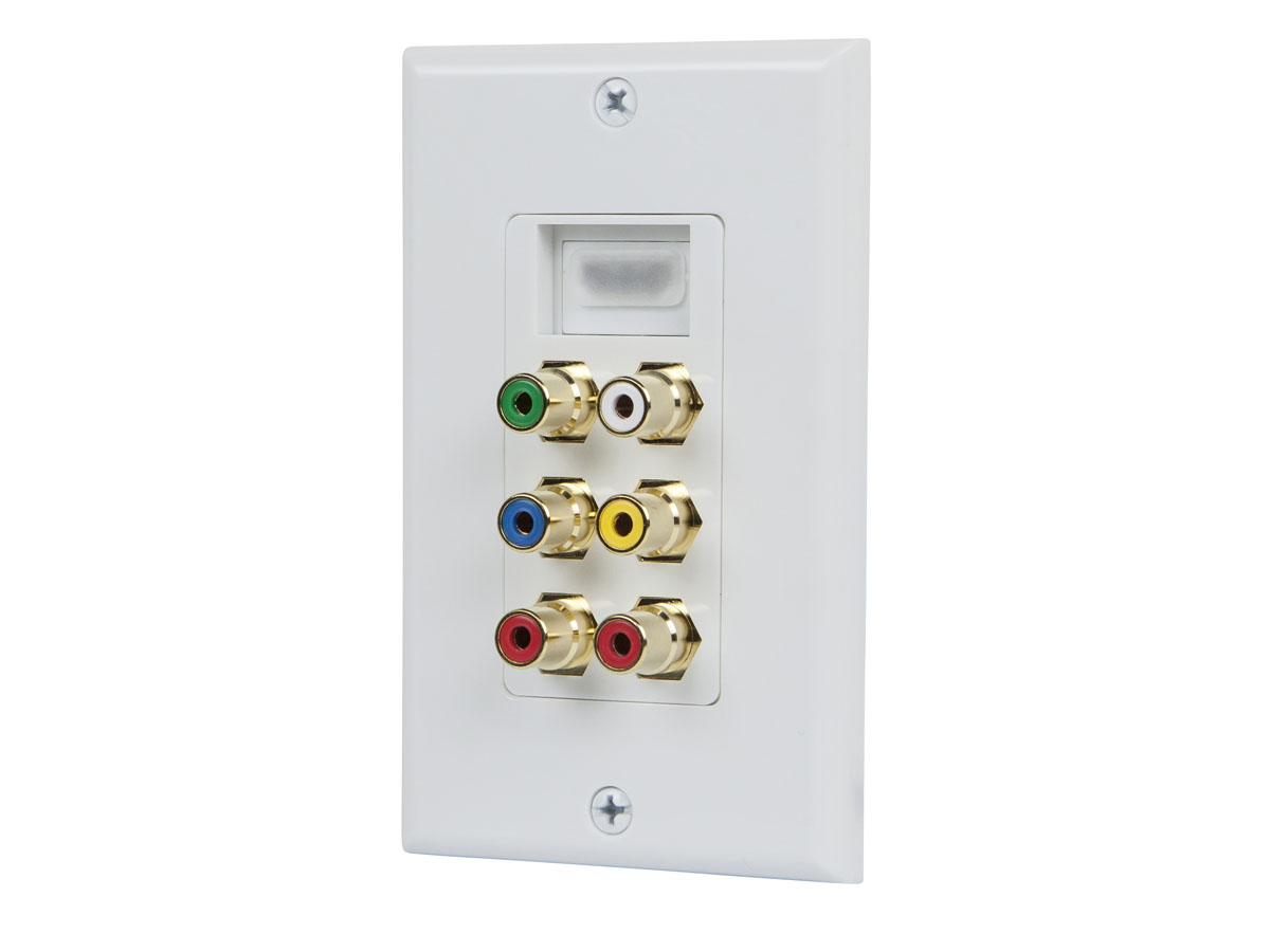 Monoprice 103000 3 RCA Component Two-Piece Inset Wall Plate RGB