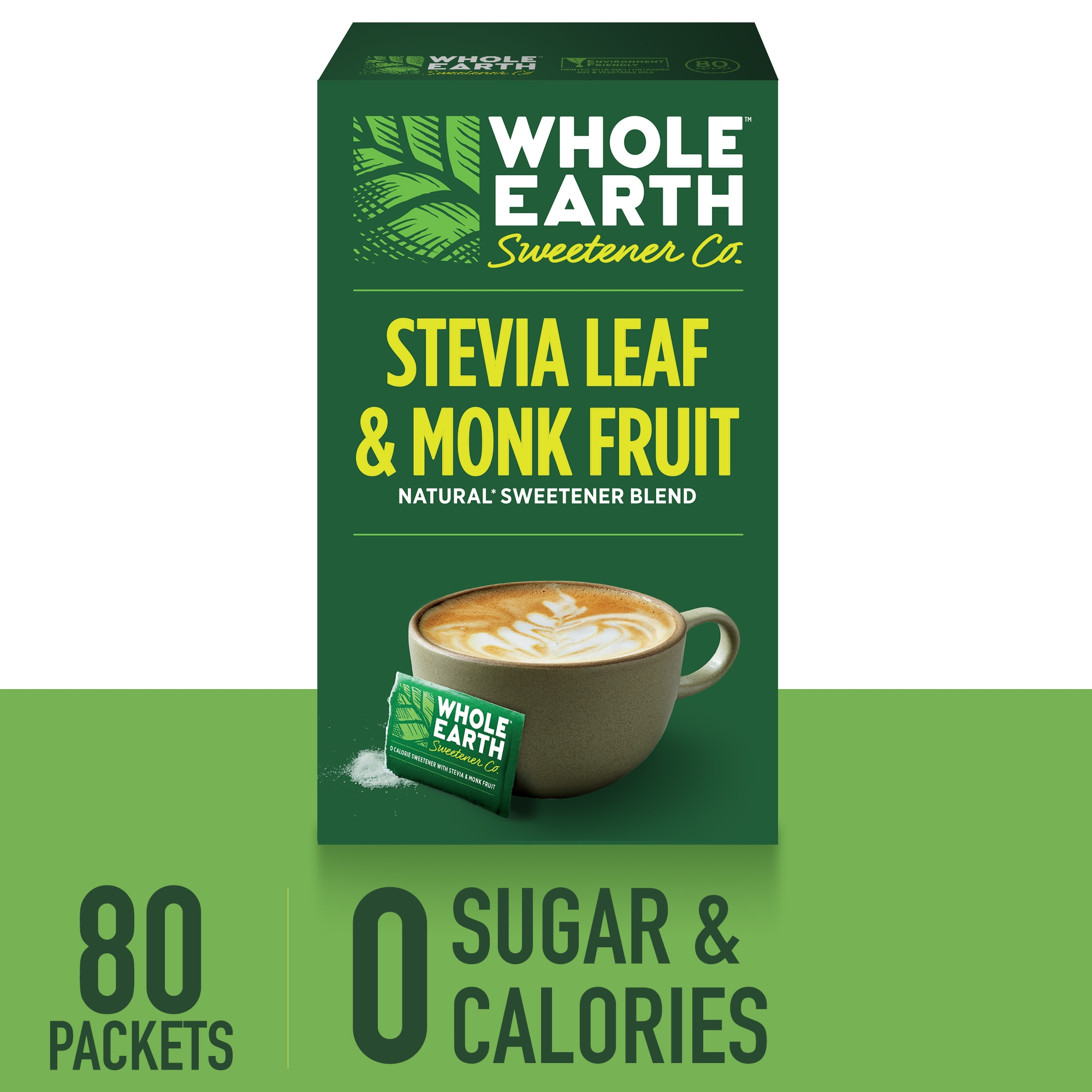 (80 Packets) Whole Earth Sweetener for Coffee & Tea, Sugar Substitute, Zero Calorie Sweetener