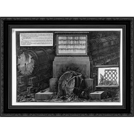 Another view of the above and the column of granite pedestal 24x20 Black Ornate Wood Framed Canvas Art by Piranesi, Giovanni -