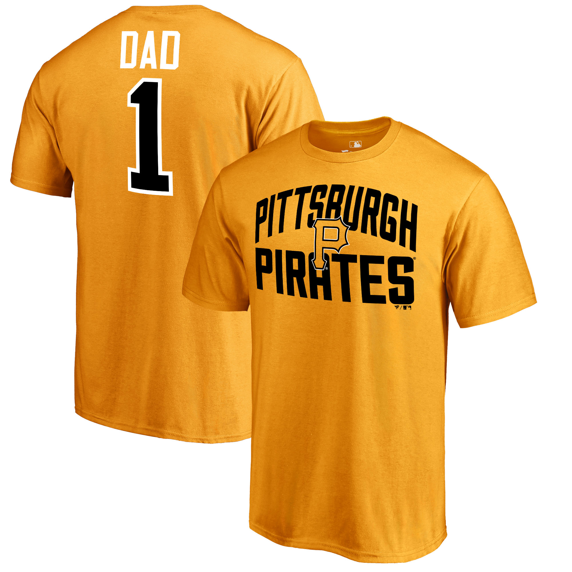 Pittsburgh Pirates Fanatics Branded 2018 Father's Day Number 1 Dad T-Shirt - Gold