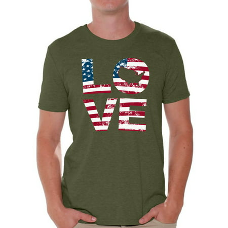Awkward Styles American Flag Love Men Shirt 51 States 4th of July Men T shirt United States of America USA Flag Love Tshirt for Men Stripes and Stars 4th of July Men T-shirt USA Pride