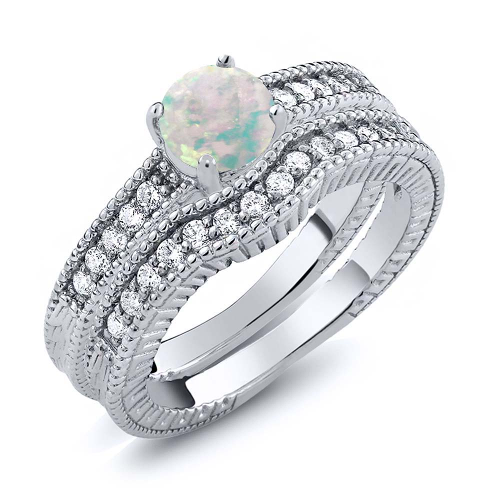 1.00 Ct Round Simulated Opal Women's 925 Sterling Silver Engagement Ring Set by