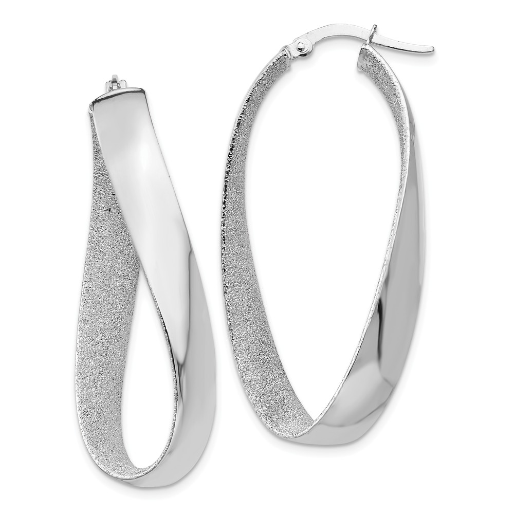 14k Yellow Gold 0.7IN Long White & Rhodium Satin & Polished Twisted Hoop Earrings