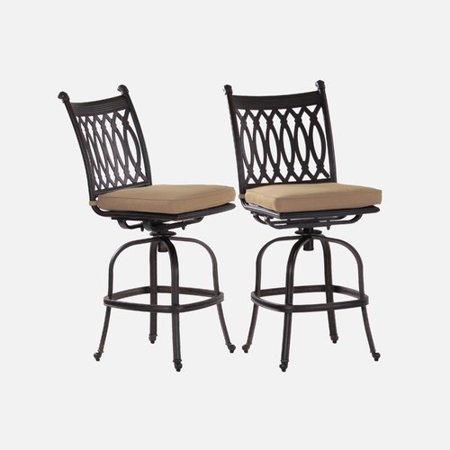 Enjoyable Fleur De Lis Living Burrage 29 Patio Bar Stool With Cushion Set Of 2 Machost Co Dining Chair Design Ideas Machostcouk