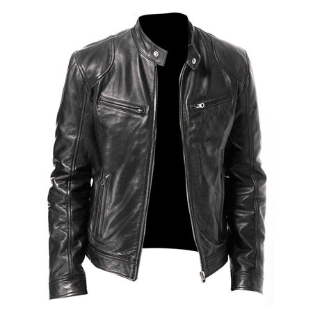 lisenraIn Winter Warm Genuine Black&Brown Leather Jacket New Men Slim fit Biker Motorcycle ()