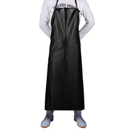 Opromo Black Heavy Duty Vinyl Waterproof Aprons, 39