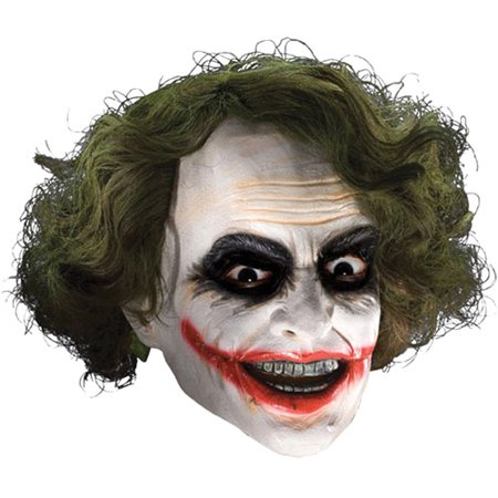 Joker Adult Halloween Vinyl Mask with Hair - The Joker Halloween Mask