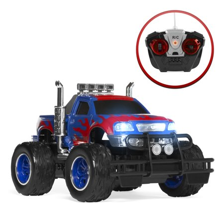 Best Choice Products 1/16 Scale Kids RC Off-Road Remote Control Monster Truck Racecar Toy w/ Climbing Style Tires, 9.3MPH Max Speed, Headlights, All Terrain Design, Racing Flames - Blue/Red