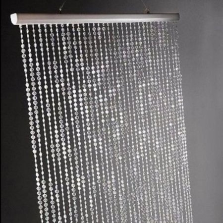 3 ft x 6 ft Iridescent Faux Crystal Beaded Curtain - Clear - 8 Ft Curtains
