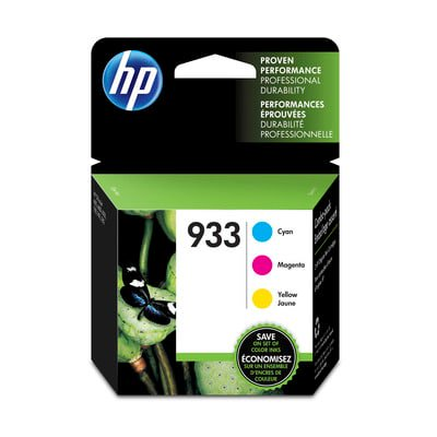 HP 933 Cyan/ Magenta/Yellow Original Ink Cartridge, 3-Pack (N9H56FN)