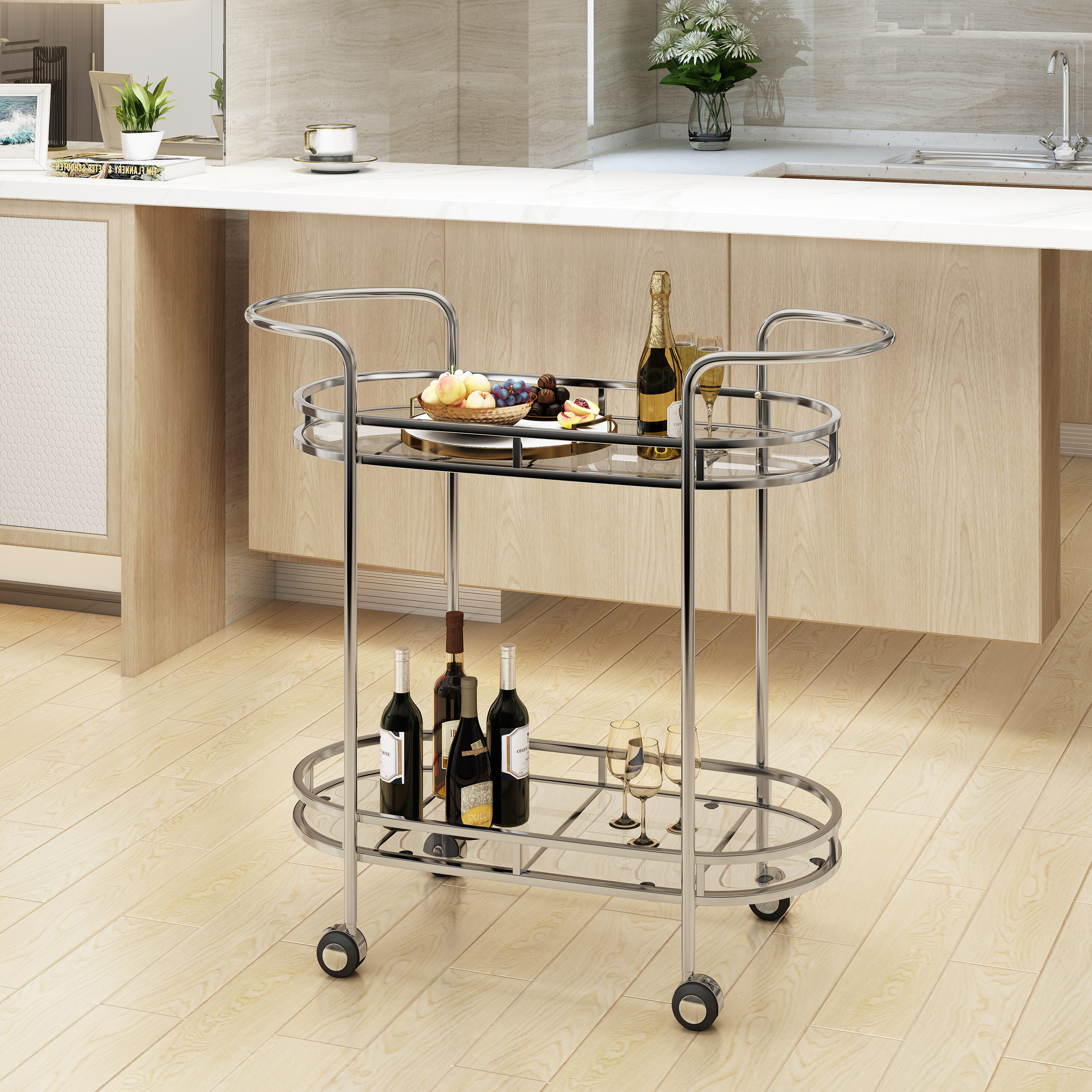Noble House Modern Iron and Glass Bar Cart, Silver