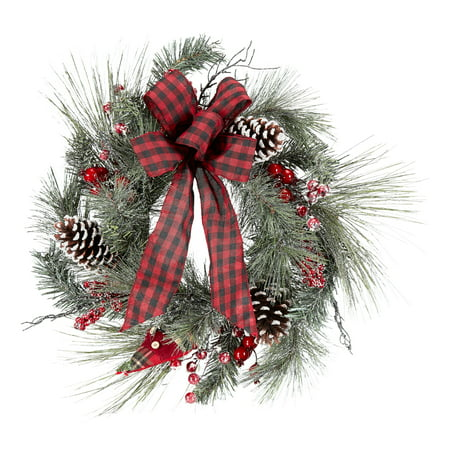 Holiday Time Pine and Snow Berry Christmas Wreath Decoration, 22