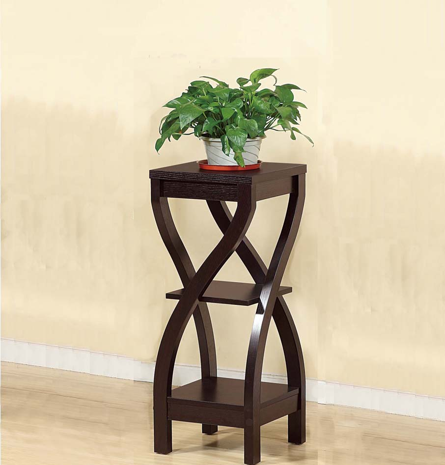 Elegant Design Medium Plant Stand, Dark Brown by Benzara