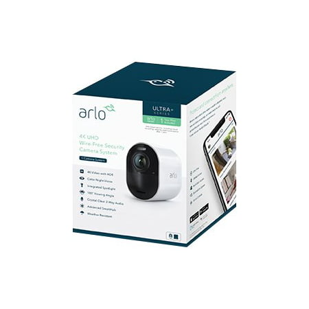 Arlo Ultra 4K HDR Security Camera System VMS5140 - 1 Wire-Free Rechargeable Battery Camera with Color Night Vision, Auto-Zoom, Weather-Resistant, Smart Siren and One Year of Arlo Smart