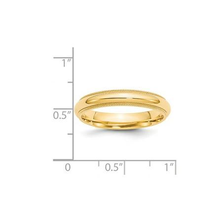 Ladies 14K Yellow Gold 4mm Comfort Fit Milgrain Wedding Band - image 2 de 4