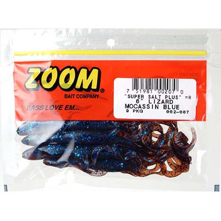 Zoom Lizard Fishing Baits, Moccasin Blue, 9pk