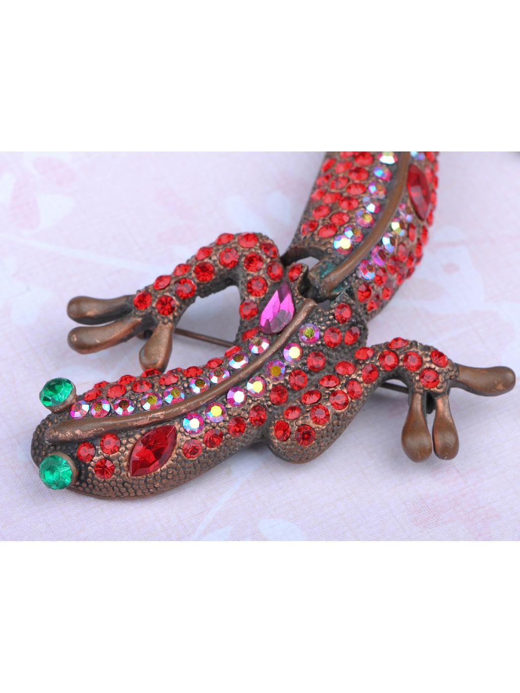 Fashion Animal Jewelry Ruby Garnet Crystal Rhinestone Lizard Gecko Pin Brooch by