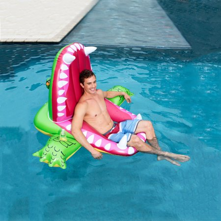 BEAD BEE Swimming Ring Floating Row 63IN Giant Crocodile Suitable For Children And Adults