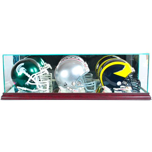 Perfect Cases Triple Mini Football Helmet Display Case, Cherry Finish