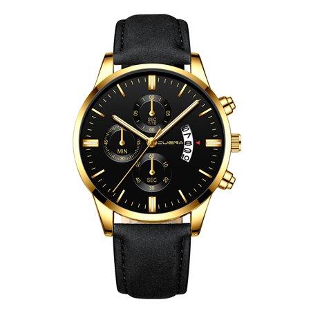 CUENA Men Fashion Leather Band Quartz Watch Simple Calendar Business Watches Casual Big Dial Wrist Watch