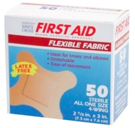 FIRST AID Brand Flexible Fabric 4-Wing Adhesive Bandages by American White Cross® 150-Ct