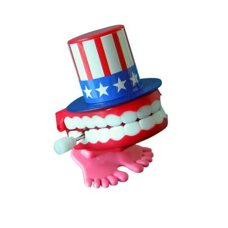 7cm American Flag Wind-up Walking Babbling Teeth Denture Chattering Funny Teeth - Wind Up Teeth