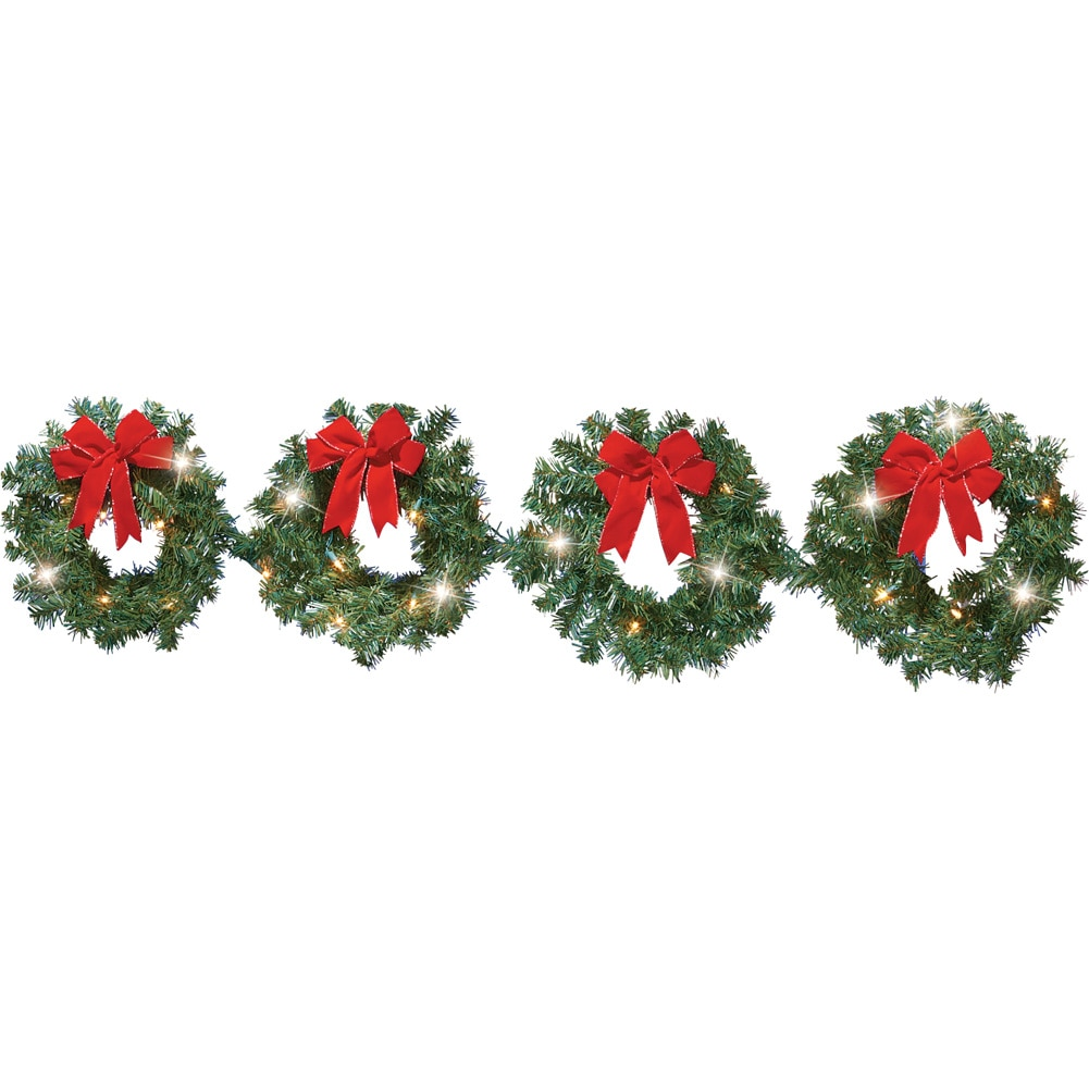 "Collections Etc. Lighted Christmas Evergreen Wreath Set of 4 with Red Bows, 60"" Length - String of Connected Holiday Wreaths with LEDs and Gold Accents, Individual Hook on Each 12"" Diameter Wreath"