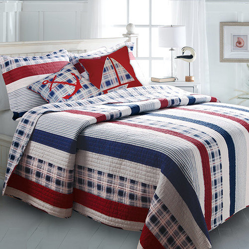 greenland home fashions nautical stripe bonus quilt set - Greenland Home Fashions
