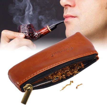 Smoking Tobacco Pouch,Ymiko Portable Zippered PU Leather Pouch Bag Case Holder for Preserving Tobacco & Smoking
