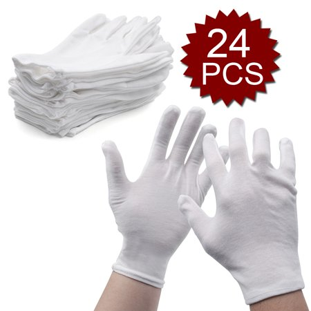 Aspire 12 Pairs Wholesale Soft Cotton Glove Liner for Cosmetic Moisturizing Hand Spa-White-Small