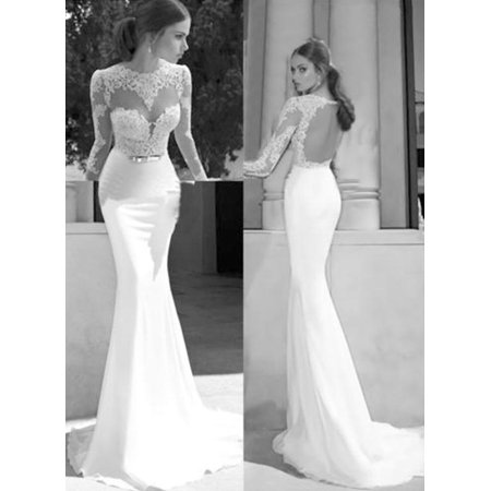 Women S Fashion Long Sleeve Backless Lace Patchwork Gown Evening Party Bridesmaid Wedding Maxi Dress Hfon
