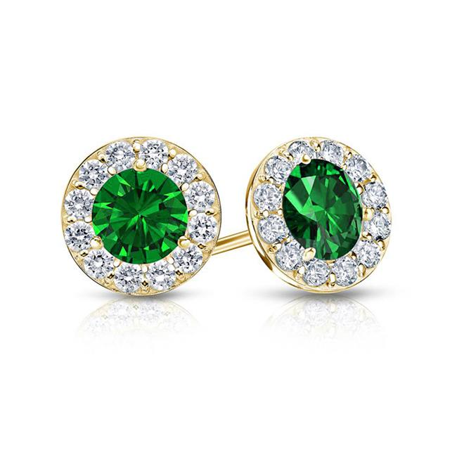 Fine Jewelry Vault UBUERBK100AGVYCZE May Birthstone Emerald and CZ Halo Stud Earrings 18K Yellow Gold Over Sterling
