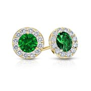 Fine Jewelry Vault UBUERBK100AGVYCZE May Birthstone Emerald and CZ Halo Stud Earrings 18K Yellow Gold Over Sterling Silver 1 CT TGW