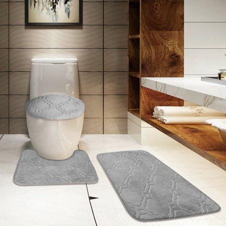 Velvet Geometric Moroccan Design Bathroom Rug Set 3pc
