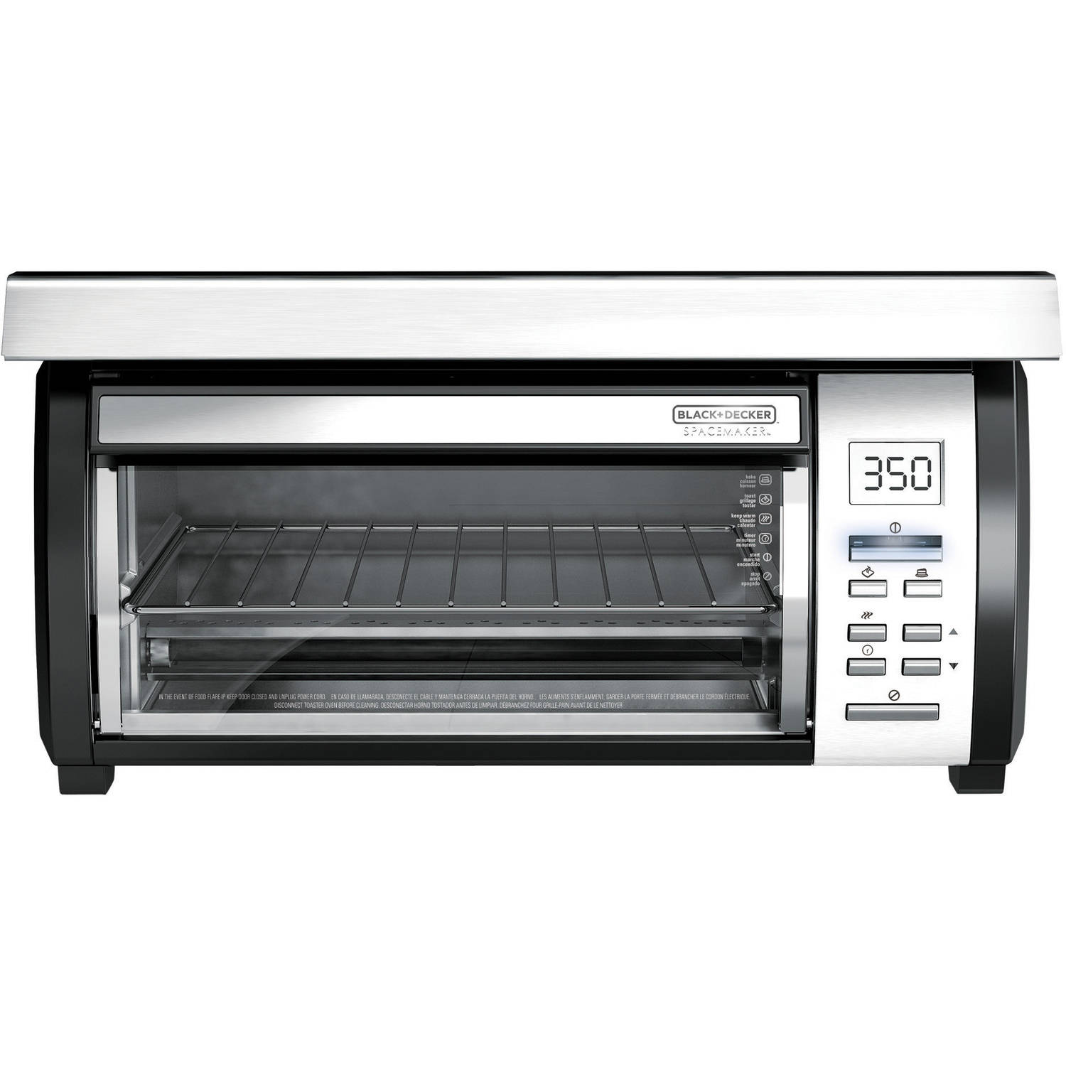 black+decker spacemaker toaster oven, black and stainless