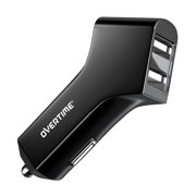 Overtime 12W 2.4 Amp Dual Port USB Car Charger Adapter Black For Apple iPhone / iPad / iPod, Android Samsung HTC LG Nokia