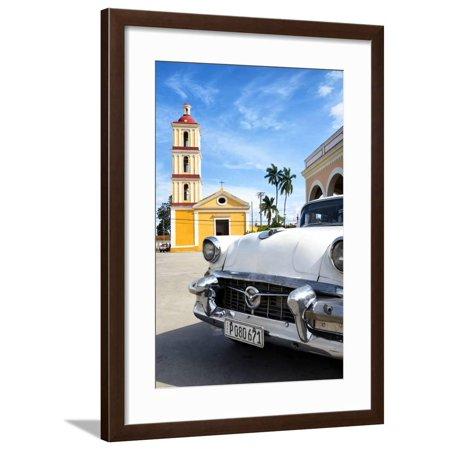 Classic Flame Santa - Cuba Fuerte Collection - Classic Car in Santa Clara Framed Print Wall Art By Philippe Hugonnard