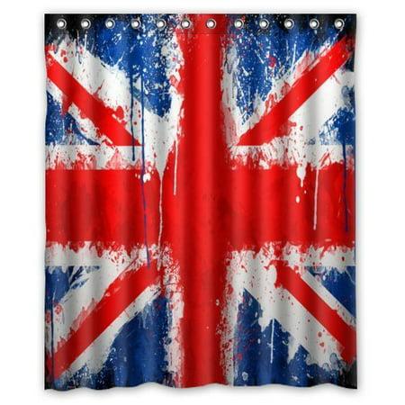 HelloDecor United Kingdom Union Jack Flag British Shower Curtain Polyester Fabric Bathroom Decorative Size 60x72 Inches