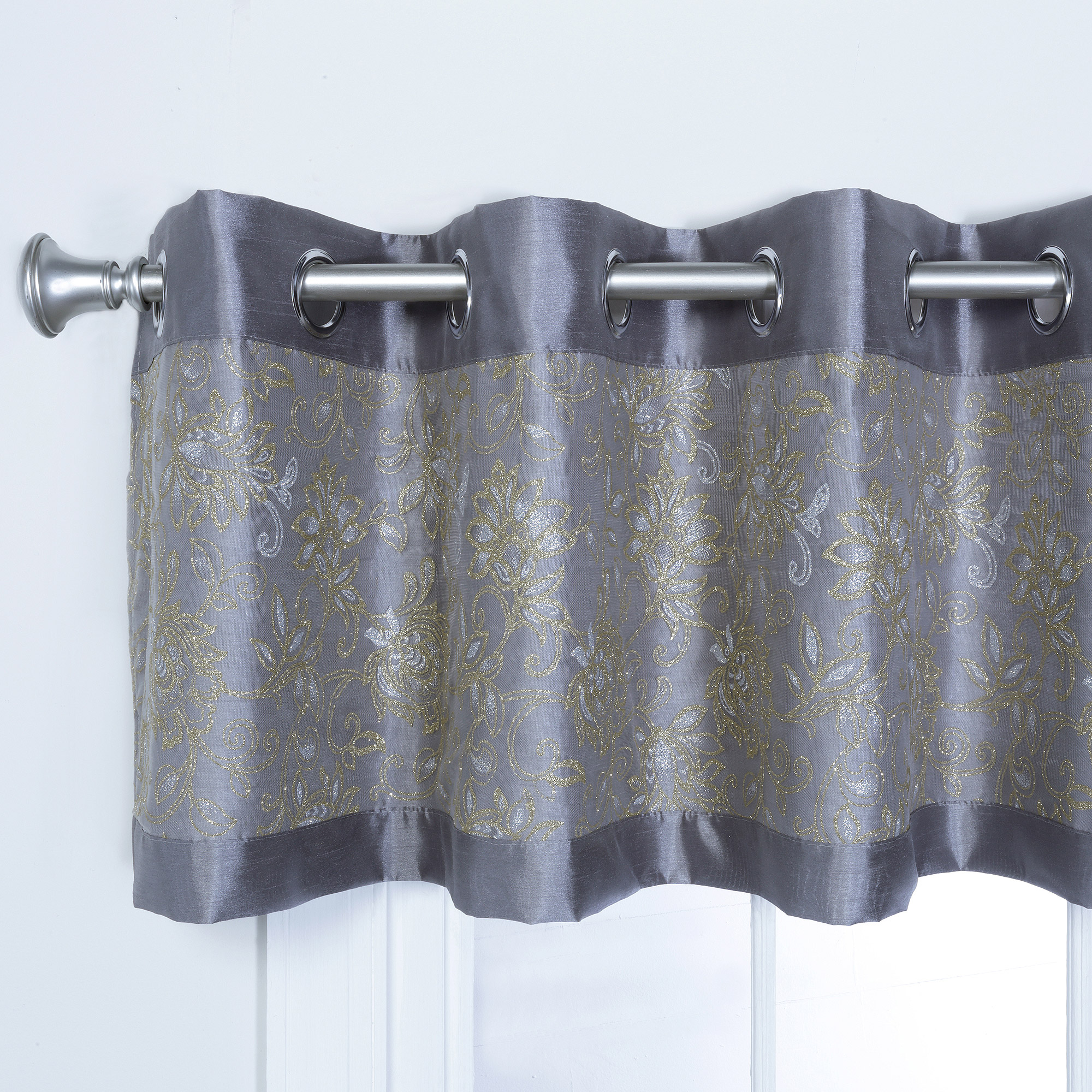 Miranda Faux Silk Grommet Valance with Metallic Print