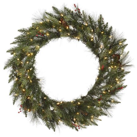 Vickerman A143137 Vallejo Mixed Pine Dura Wreath with Clear Lights, 36 in. - image 1 de 1
