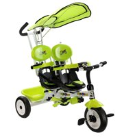 Costway 4-in-1 Double Stroller Tricycle, Green