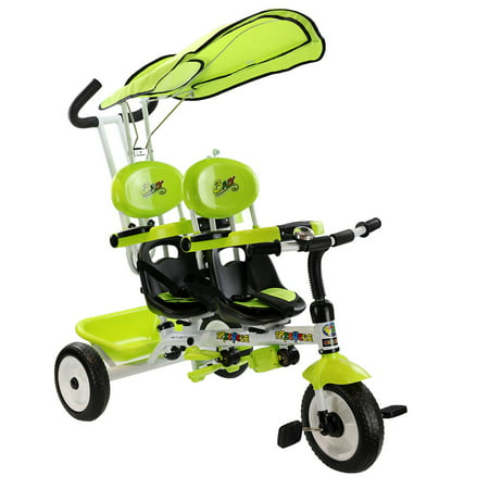 Stroller Green Bubbles - Costway 4 In 1 Twins Kids Baby Stroller Tricycle Safety Double Rotatable Seat w/ Basket Green