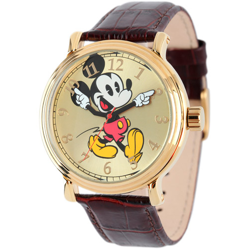 Mickey Mouse Men's Shinny Gold Vintage Articulating Alloy Case Watch, Brown Leather Strap
