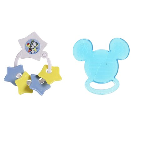 (2pc Mickey Icon Dark Blue Water Filled & White Key Ring Stars Teether Set)