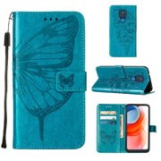 Moto G Play 2021 Wallet Case, Embossed Butterfly PU Leather Credit Card Holder Slots Full Body Protection Kickstand Flip Folio Shockproof TPU Phone Cover for Motorola Moto G Play 2021, Blue
