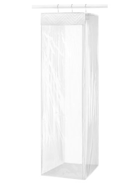 "Whitmor Hanging Zippered Garment Bag - Closet Organizer - Clear & White - 20"" L x 14.5"" W x 54.0"""