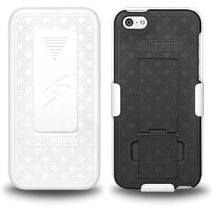 Premium Shell Holster Combo Slim Shell Case Built in Kickstand + Swivel Belt Clip Holster for iPhone 5C - White/ Black