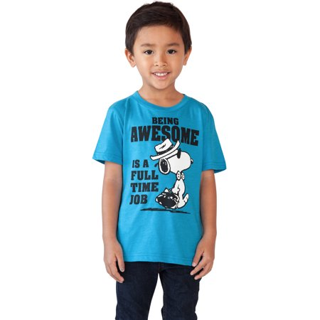 Blue Toddler T-shirt - Toddler Baby Boys Peanuts Snoopy T-Shirt - Short Sleeve Blue