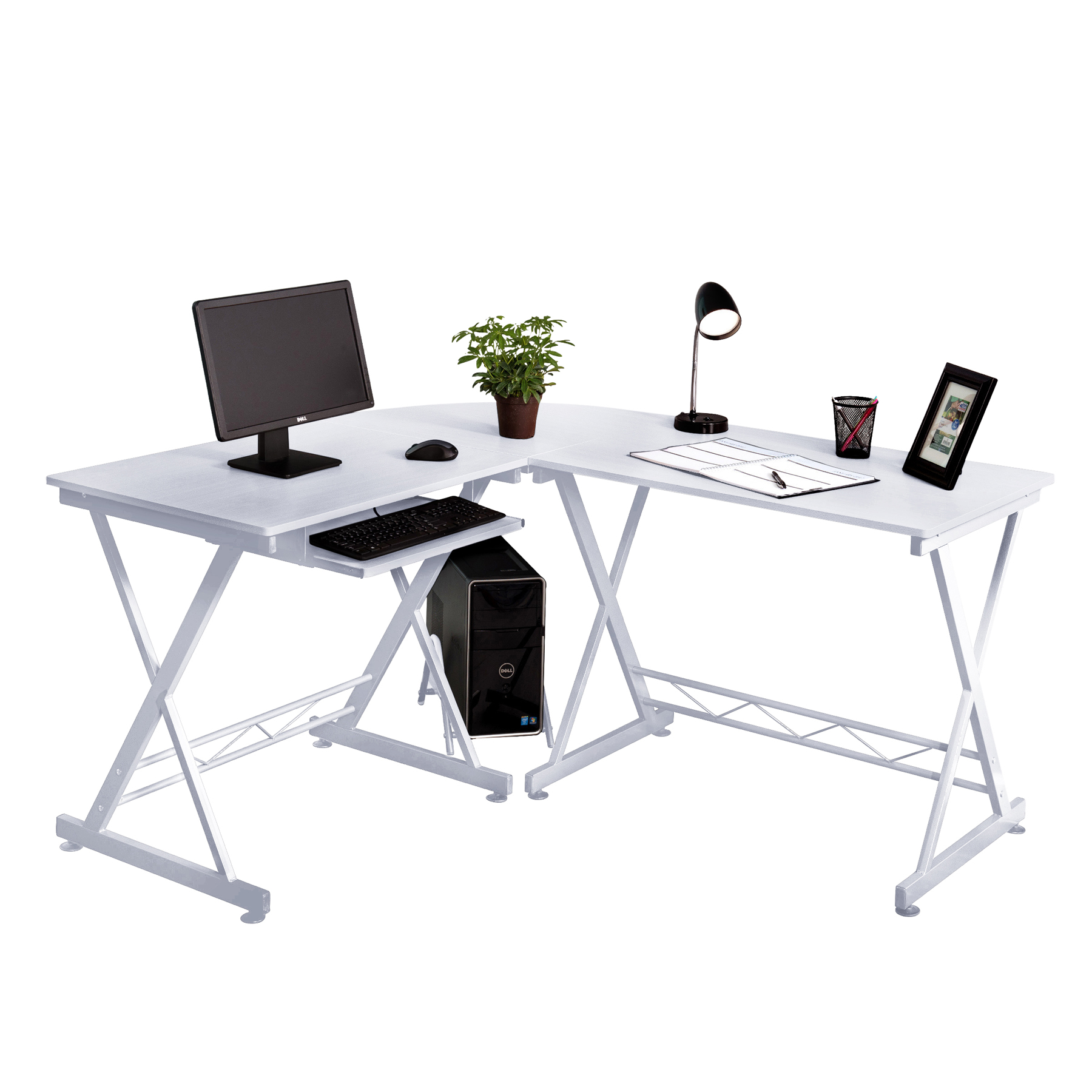 Fineboard Home Office L-Shaped Corner Desk, Beige/Silver
