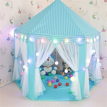 Tents for Girls, Princess Castle Play House for Child, Outdoor Indoor Portable Kids Children Play Tent for Girls Pink Birthday Gift (LED Star Lights)